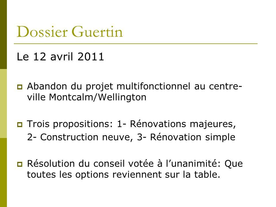Dossier Guertin Le 12 avril 2011 Abandon du projet multifonctionnel au centre- ville Montcalm/Wellington Trois propositions: 1- Rénovations majeures,