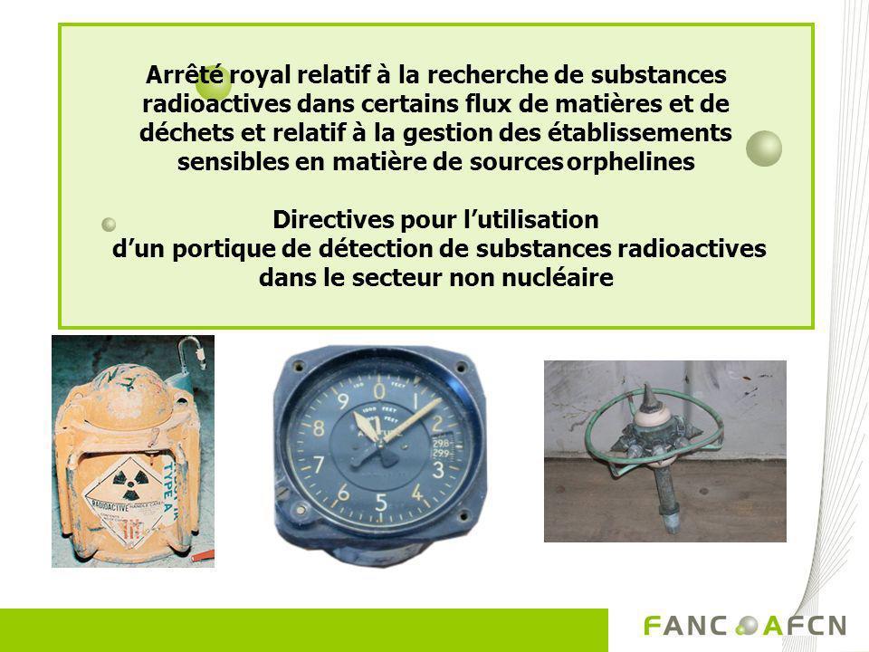 Arrêté royal relatif à la recherche de substances radioactives dans certains flux de matières et de déchets et relatif à la gestion des établissements