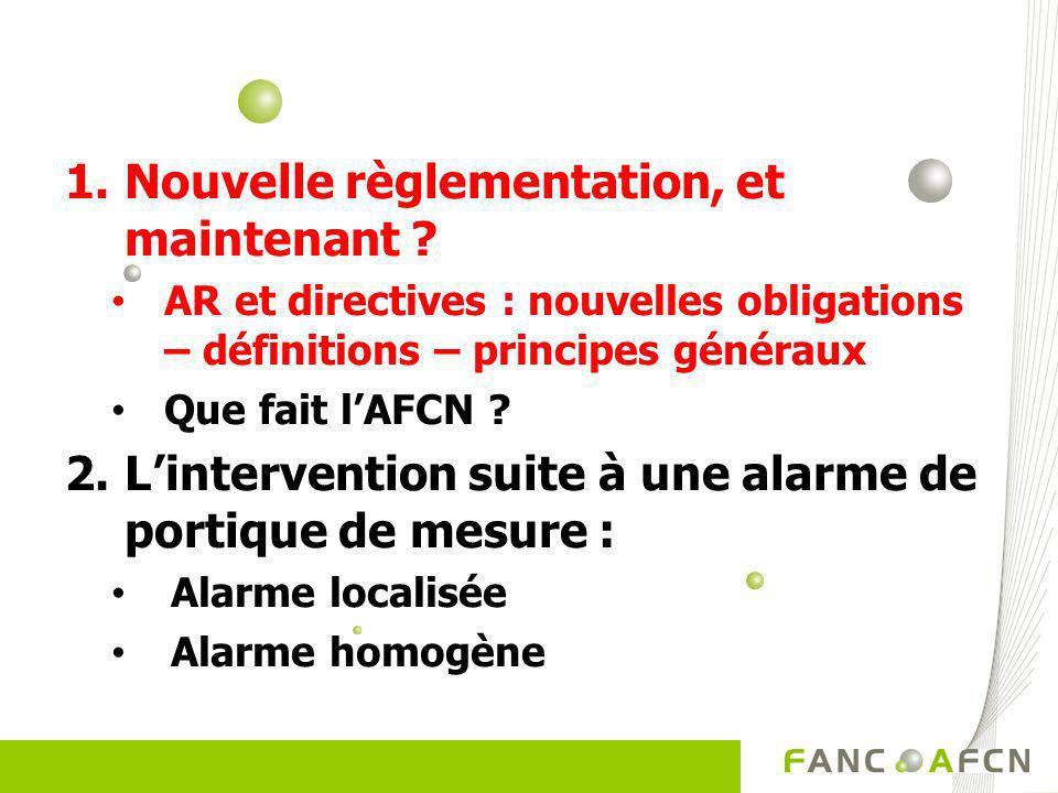 1.Nouvelle règlementation, et maintenant ? AR et directives : nouvelles obligations – définitions – principes généraux Que fait lAFCN ? 2.Linterventio