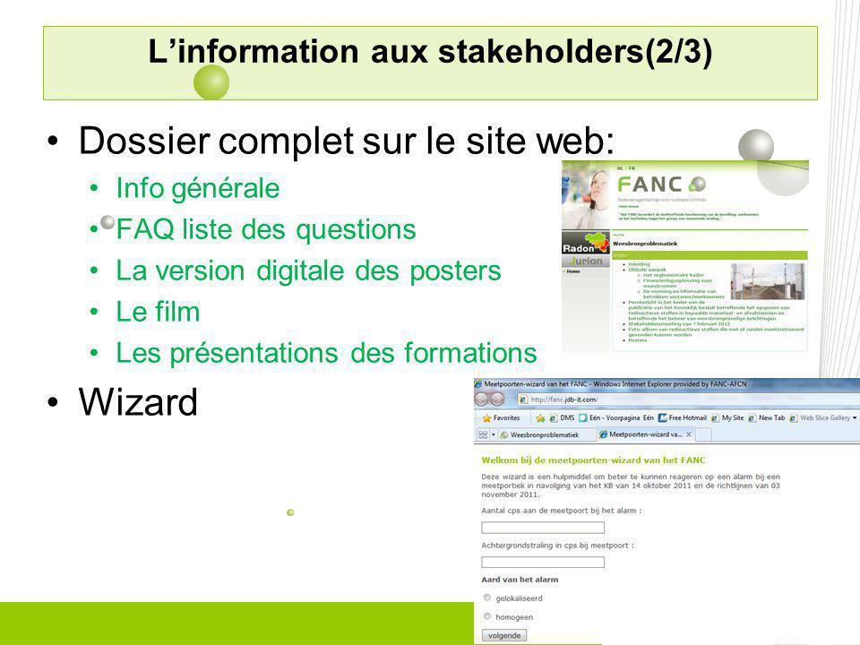 Dossier complet sur le site web: Info générale FAQ liste des questions La version digitale des posters Le film Les présentations des formations Wizard