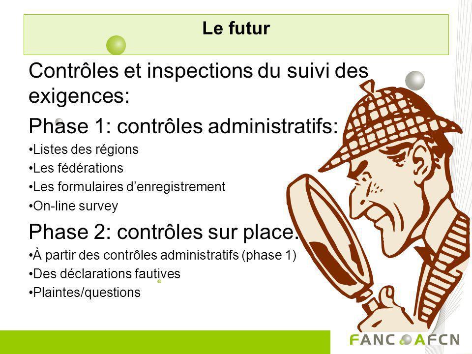 Contrôles et inspections du suivi des exigences: Phase 1: contrôles administratifs: Listes des régions Les fédérations Les formulaires denregistrement