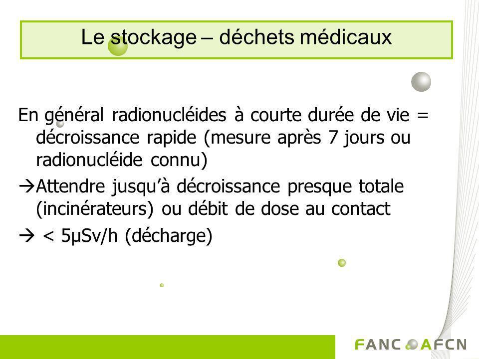 En général radionucléides à courte durée de vie = décroissance rapide (mesure après 7 jours ou radionucléide connu) Attendre jusquà décroissance presq