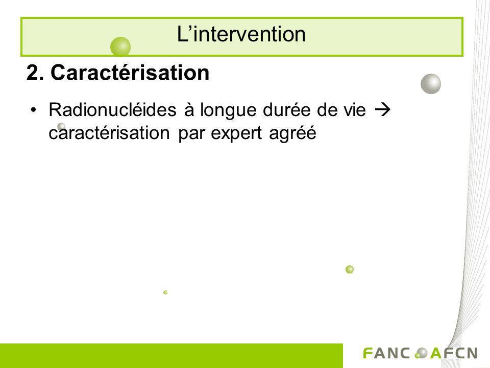 2. Caractérisation Radionucléides à longue durée de vie caractérisation par expert agréé Lintervention