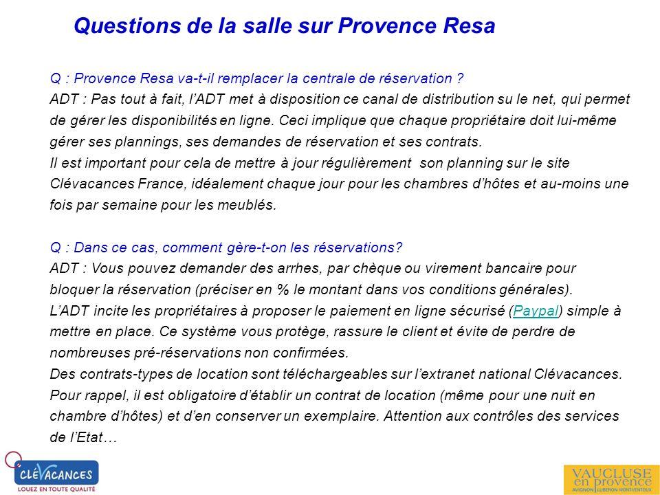Questions de la salle sur Provence Resa Q : Provence Resa va-t-il remplacer la centrale de réservation ? ADT : Pas tout à fait, lADT met à disposition