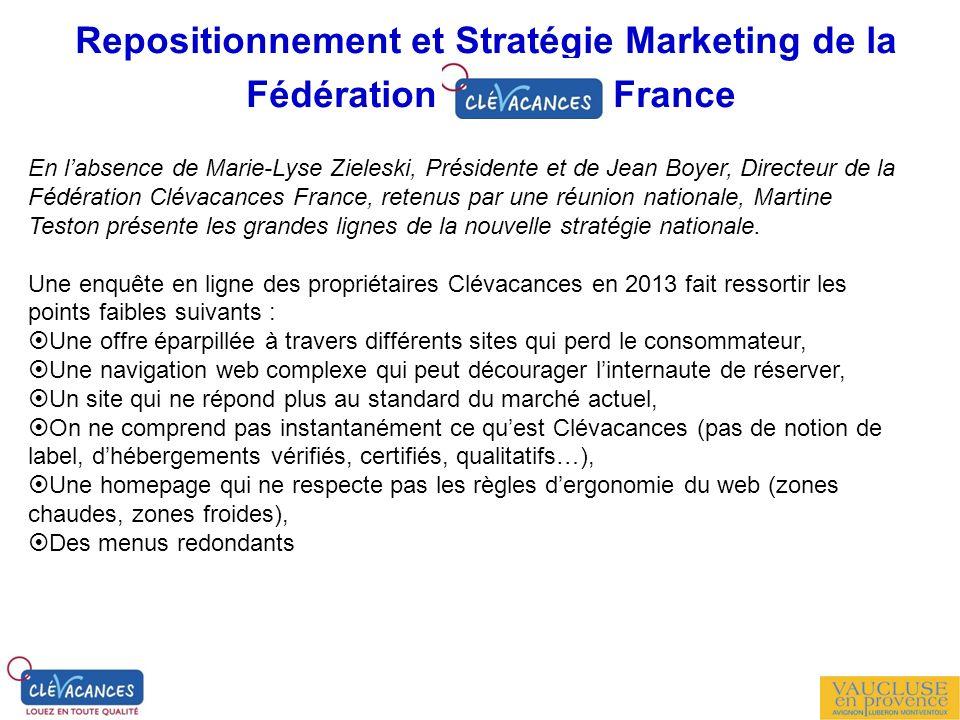Repositionnement et Stratégie Marketing de la Fédération France En labsence de Marie-Lyse Zieleski, Présidente et de Jean Boyer, Directeur de la Fédér