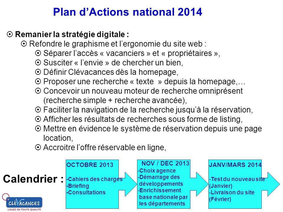 Plan dActions national 2014 Remanier la stratégie digitale : Refondre le graphisme et lergonomie du site web : Séparer laccès « vacanciers » et « prop