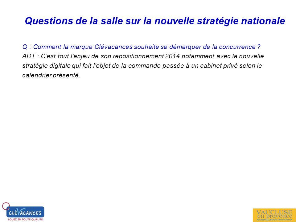 Questions de la salle sur la nouvelle stratégie nationale Q : Comment la marque Clévacances souhaite se démarquer de la concurrence ? ADT : Cest tout