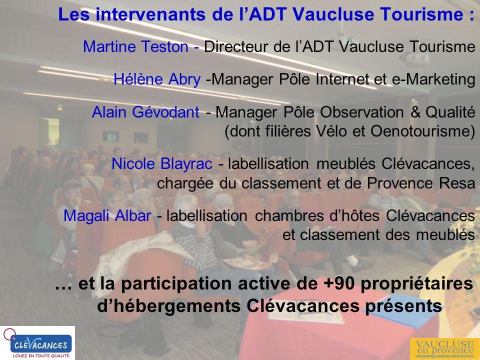 Les intervenants de lADT Vaucluse Tourisme : Martine Teston - Directeur de lADT Vaucluse Tourisme Hélène Abry -Manager Pôle Internet et e-Marketing Al