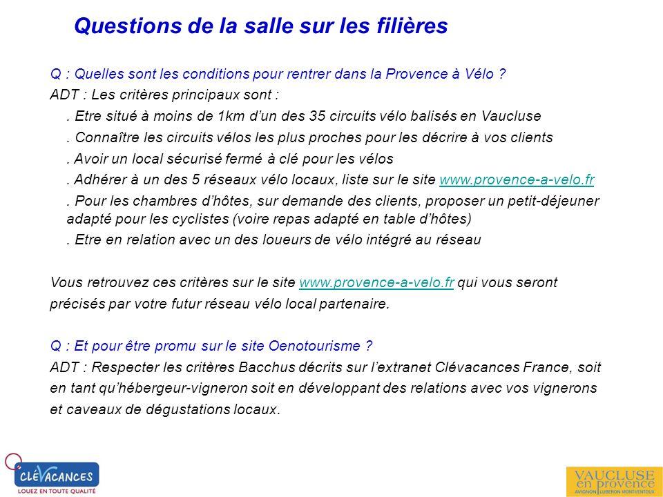 Questions de la salle sur les filières Q : Quelles sont les conditions pour rentrer dans la Provence à Vélo ? ADT : Les critères principaux sont :. Et