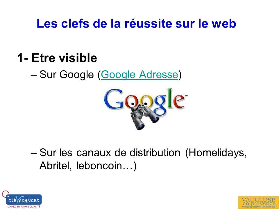 1- Etre visible –Sur Google (Google Adresse)Google Adresse –Sur les canaux de distribution (Homelidays, Abritel, leboncoin…) Les clefs de la réussite
