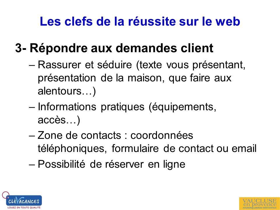 Les clefs de la réussite sur le web 3- Répondre aux demandes client –Rassurer et séduire (texte vous présentant, présentation de la maison, que faire
