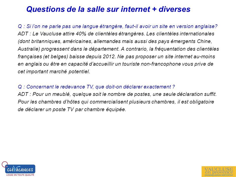 Questions de la salle sur internet + diverses Q : Si lon ne parle pas une langue étrangère, faut-il avoir un site en version anglaise? ADT : Le Vauclu
