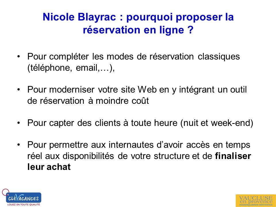 Nicole Blayrac : pourquoi proposer la réservation en ligne ? Pour compléter les modes de réservation classiques (téléphone, email,…), Pour moderniser