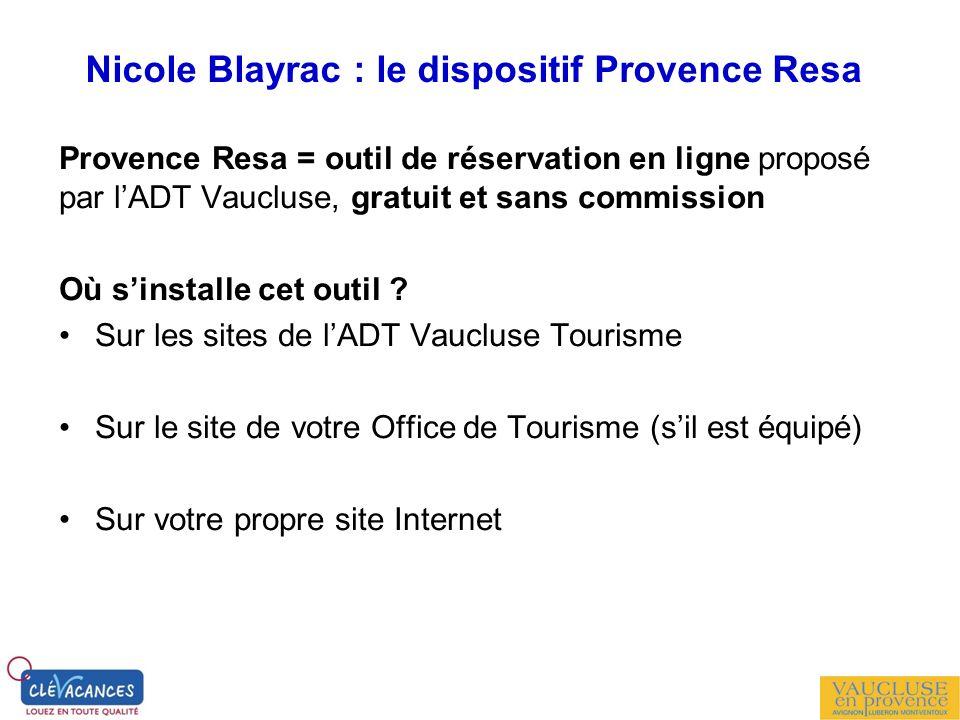 Nicole Blayrac : le dispositif Provence Resa Provence Resa = outil de réservation en ligne proposé par lADT Vaucluse, gratuit et sans commission Où si