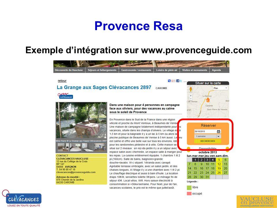 Provence Resa Exemple dintégration sur www.provenceguide.com