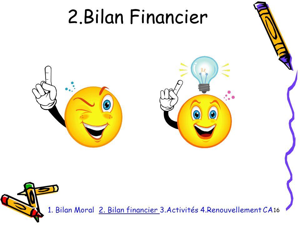 2.Bilan Financier 16 1. Bilan Moral 2. Bilan financier 3.Activités 4.Renouvellement CA