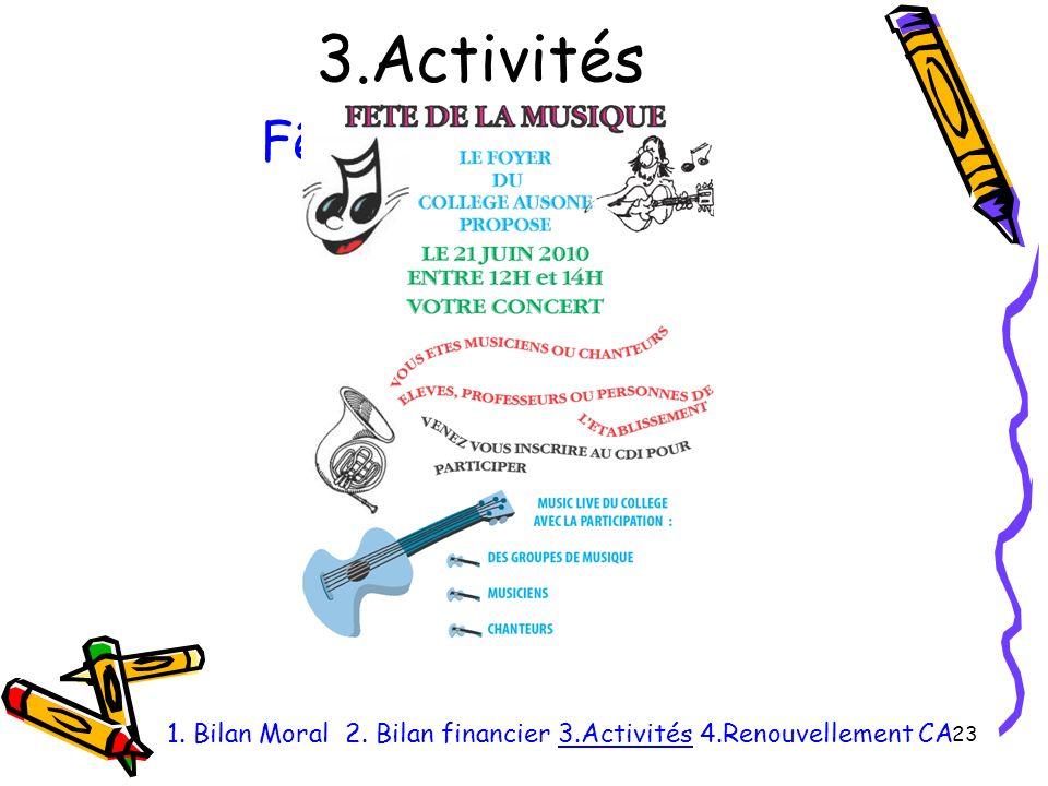 3.Activités 23 1. Bilan Moral 2. Bilan financier 3.Activités 4.Renouvellement CA Fête de la musique