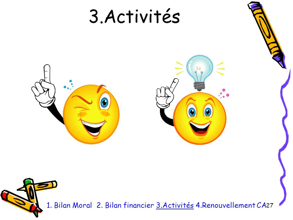 3.Activités 27 1. Bilan Moral 2. Bilan financier 3.Activités 4.Renouvellement CA