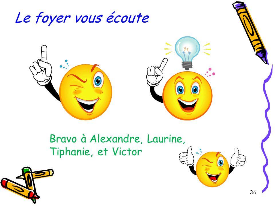 36 Bravo à Alexandre, Laurine, Tiphanie, et Victor Le foyer vous écoute