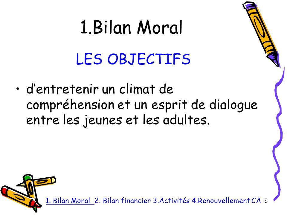 1.Bilan Moral dentretenir un climat de compréhension et un esprit de dialogue entre les jeunes et les adultes.