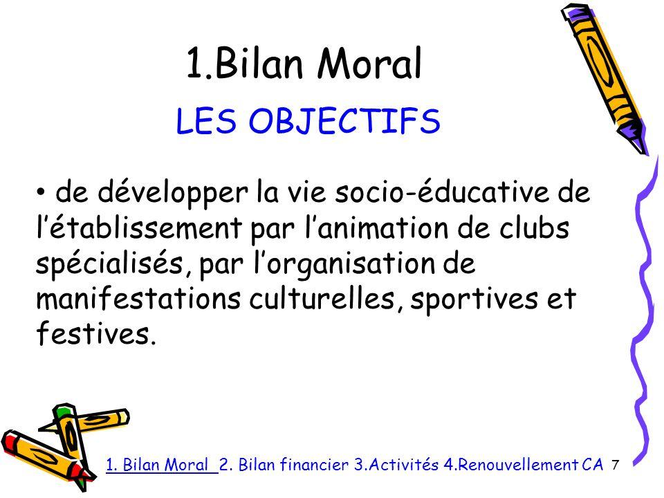 1.Bilan Moral 7 LES OBJECTIFS de développer la vie socio-éducative de létablissement par lanimation de clubs spécialisés, par lorganisation de manifestations culturelles, sportives et festives.