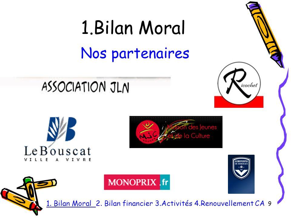 1.Bilan Moral 9 Nos partenaires 1. Bilan Moral 2. Bilan financier 3.Activités 4.Renouvellement CA