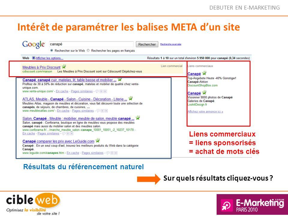 DEBUTER EN E-MARKETING Intérêt de paramétrer les balises META dun site Sur quels résultats cliquez-vous ? Liens commerciaux = liens sponsorisés = acha