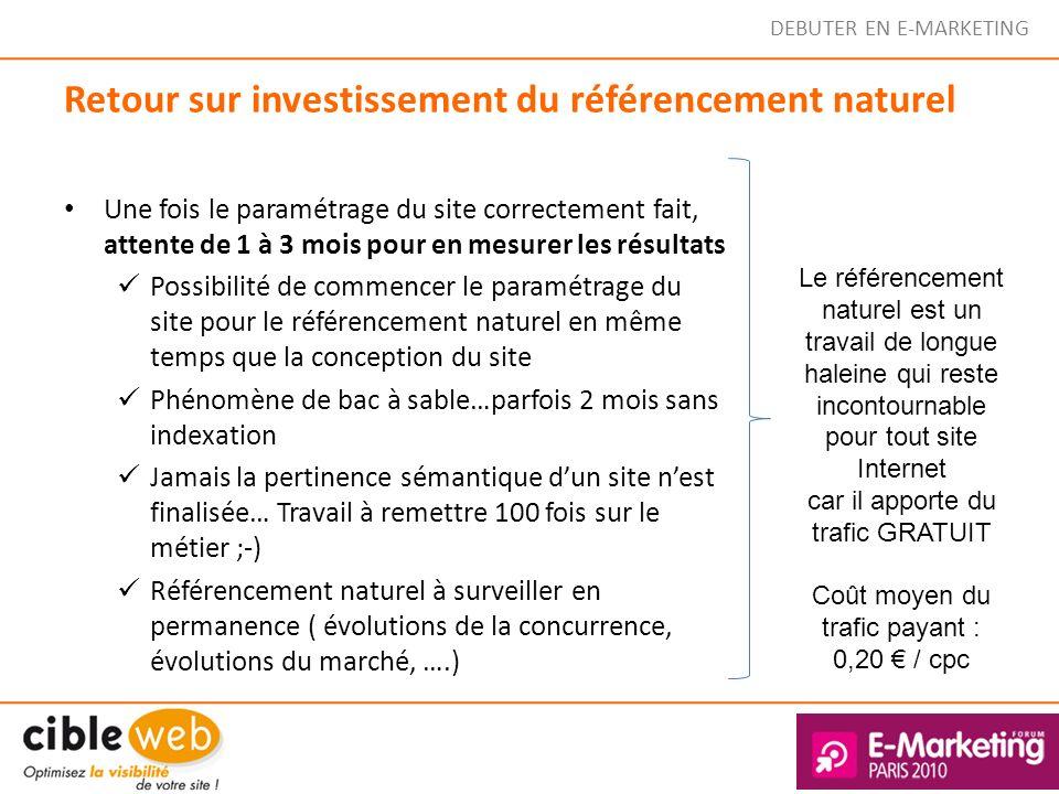 DEBUTER EN E-MARKETING Retour sur investissement du référencement naturel Une fois le paramétrage du site correctement fait, attente de 1 à 3 mois pou