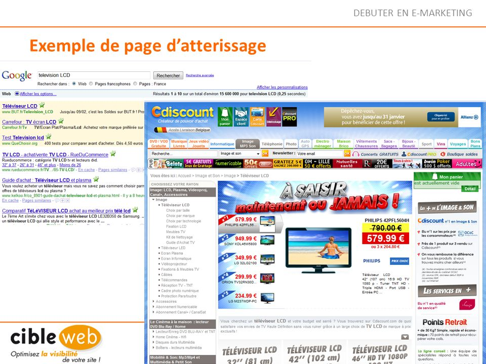 DEBUTER EN E-MARKETING Exemple de page datterissage