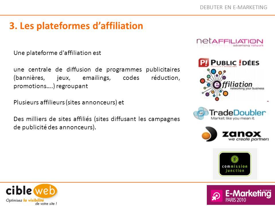 DEBUTER EN E-MARKETING 3. Les plateformes daffiliation Une plateforme d'affiliation est une centrale de diffusion de programmes publicitaires (bannièr
