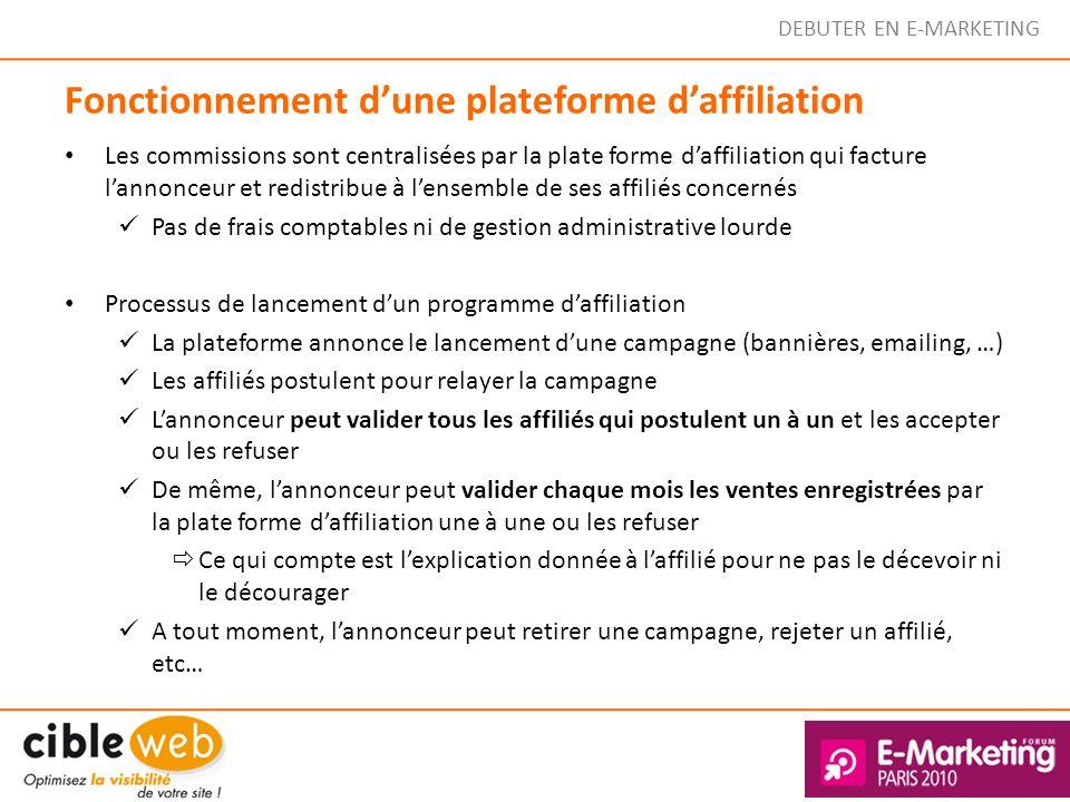 DEBUTER EN E-MARKETING Fonctionnement dune plateforme daffiliation Les commissions sont centralisées par la plate forme daffiliation qui facture lanno