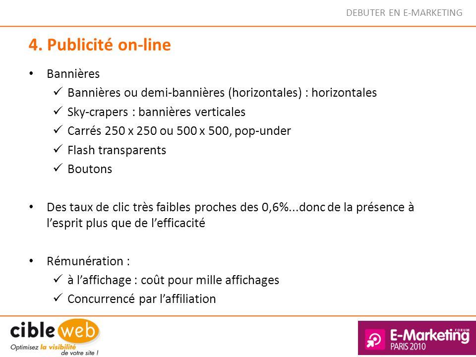 DEBUTER EN E-MARKETING 4. Publicité on-line Bannières Bannières ou demi-bannières (horizontales) : horizontales Sky-crapers : bannières verticales Car