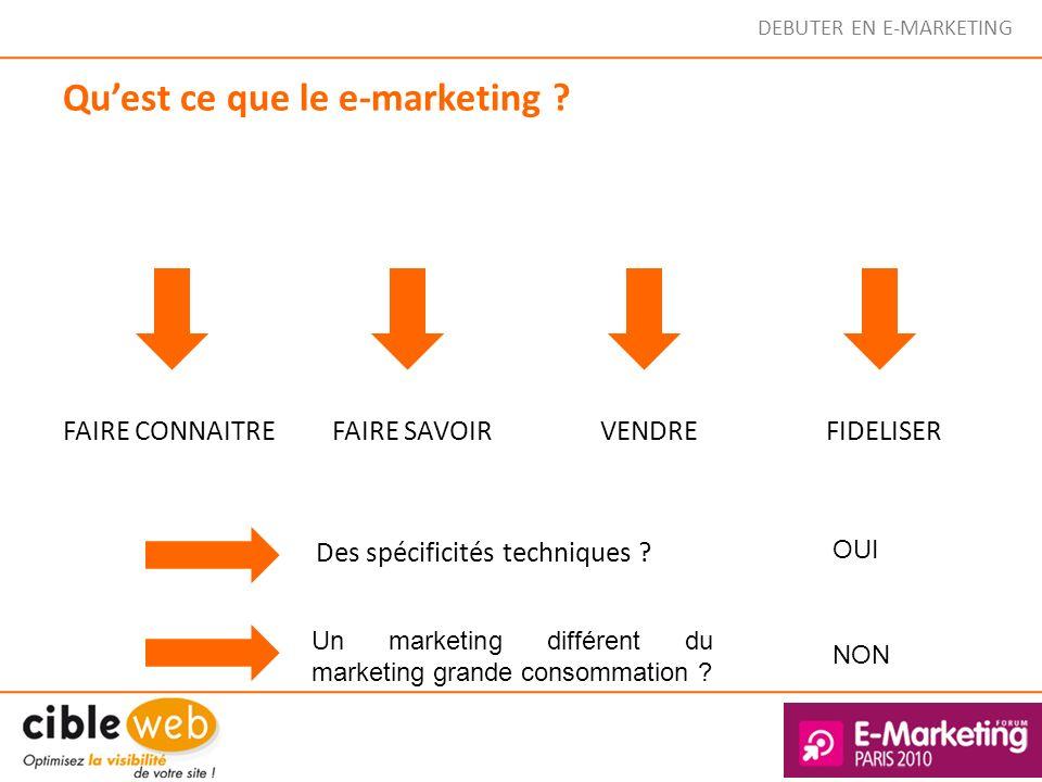 Quest ce que le e-marketing ? FAIRE CONNAITREFAIRE SAVOIRVENDREFIDELISER Des spécificités techniques ? OUI NON Un marketing différent du marketing gra