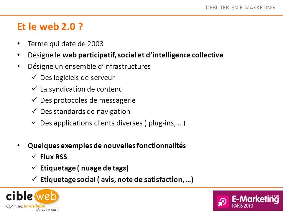 Et le web 2.0 ? Terme qui date de 2003 Désigne le web participatif, social et dintelligence collective Désigne un ensemble dinfrastructures Des logici