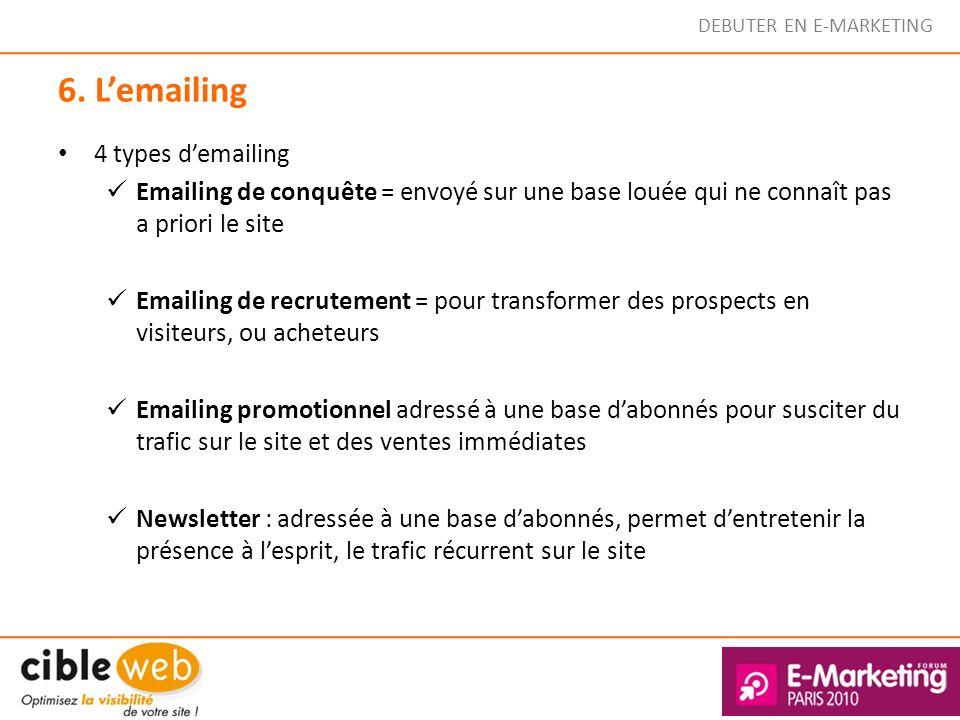 DEBUTER EN E-MARKETING 6. Lemailing 4 types demailing Emailing de conquête = envoyé sur une base louée qui ne connaît pas a priori le site Emailing de