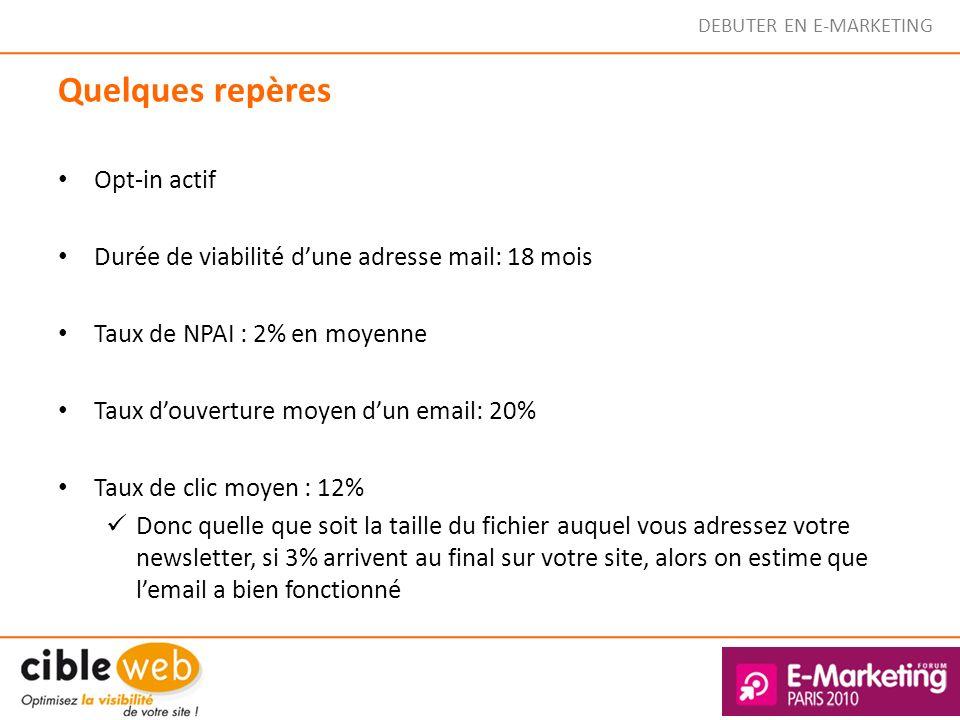 DEBUTER EN E-MARKETING Quelques repères Opt-in actif Durée de viabilité dune adresse mail: 18 mois Taux de NPAI : 2% en moyenne Taux douverture moyen