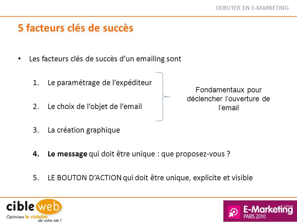 DEBUTER EN E-MARKETING 5 facteurs clés de succès Les facteurs clés de succès dun emailing sont 1.Le paramétrage de lexpéditeur 2.Le choix de lobjet de