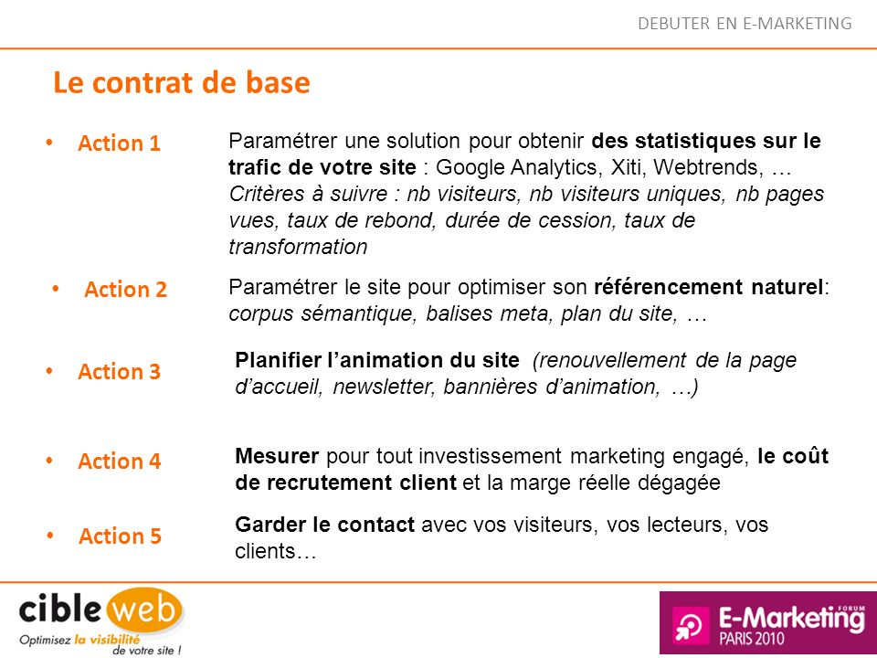 Le contrat de base Action 1 Action 2 Action 3 Action 4 Action 5 Paramétrer une solution pour obtenir des statistiques sur le trafic de votre site : Go