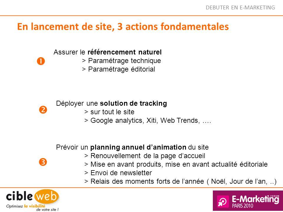 DEBUTER EN E-MARKETING En lancement de site, 3 actions fondamentales Assurer le référencement naturel > Paramétrage technique > Paramétrage éditorial