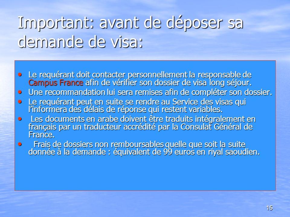 15 Important: avant de déposer sa demande de visa: Le requérant doit contacter personnellement la responsable de Campus France afin de vérifier son do