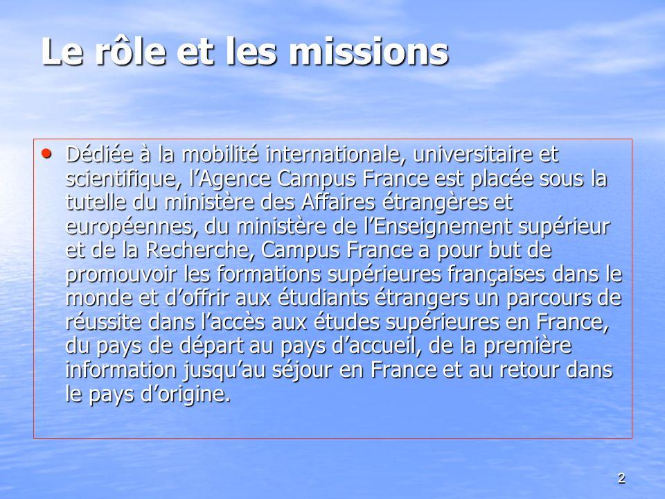 2 Le rôle et les missions Dédiée à la mobilité internationale, universitaire et scientifique, lAgence Campus France est placée sous la tutelle du mini