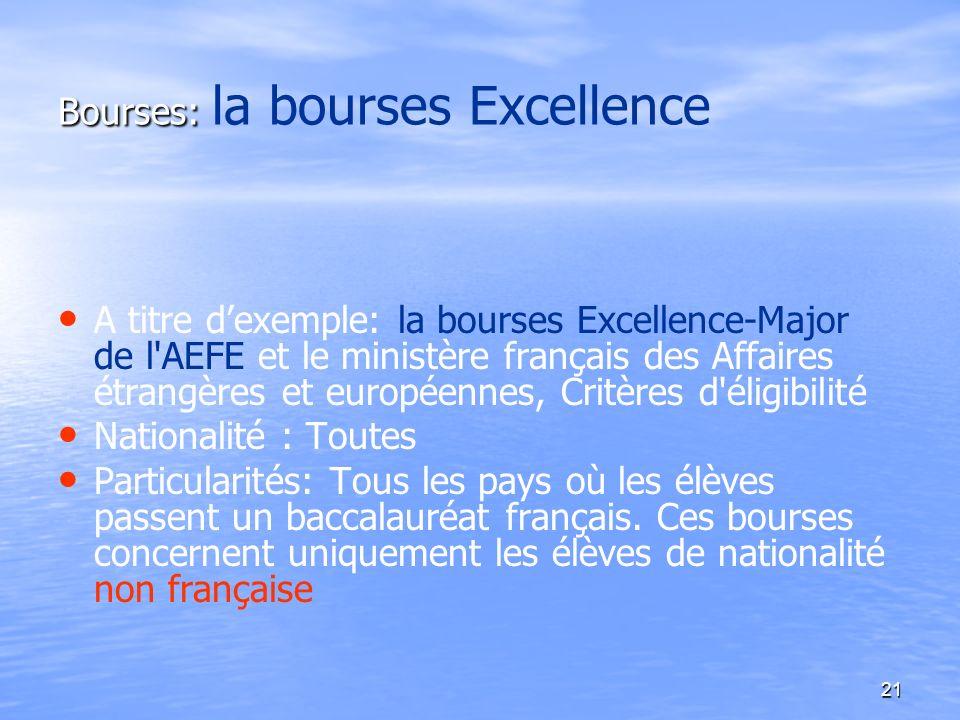21 Bourses: Bourses: la bourses Excellence A titre dexemple: la bourses Excellence-Major de l'AEFE et le ministère français des Affaires étrangères et