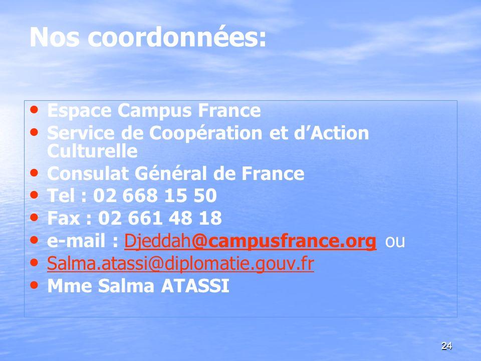 24 Nos coordonnées: Espace Campus France Service de Coopération et dAction Culturelle Consulat Général de France Tel : 02 668 15 50 Fax : 02 661 48 18