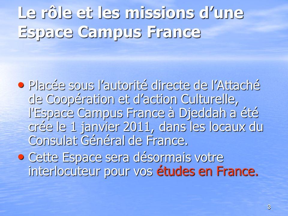 3 Placée sous lautorité directe de lAttaché de Coopération et daction Culturelle, l'Espace Campus France à Djeddah a été crée le 1 janvier 2011, dans