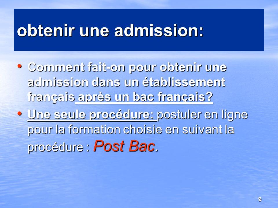 9 obtenir une admission: Comment fait-on pour obtenir une admission dans un établissement français après un bac français? Comment fait-on pour obtenir