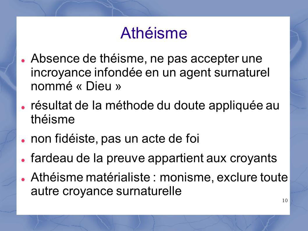 10 Athéisme Absence de théisme, ne pas accepter une incroyance infondée en un agent surnaturel nommé « Dieu » résultat de la méthode du doute appliqué