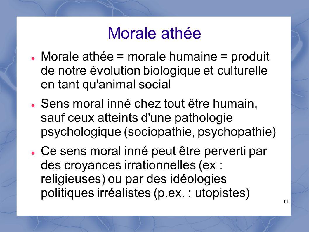 11 Morale athée Morale athée = morale humaine = produit de notre évolution biologique et culturelle en tant qu'animal social Sens moral inné chez tout