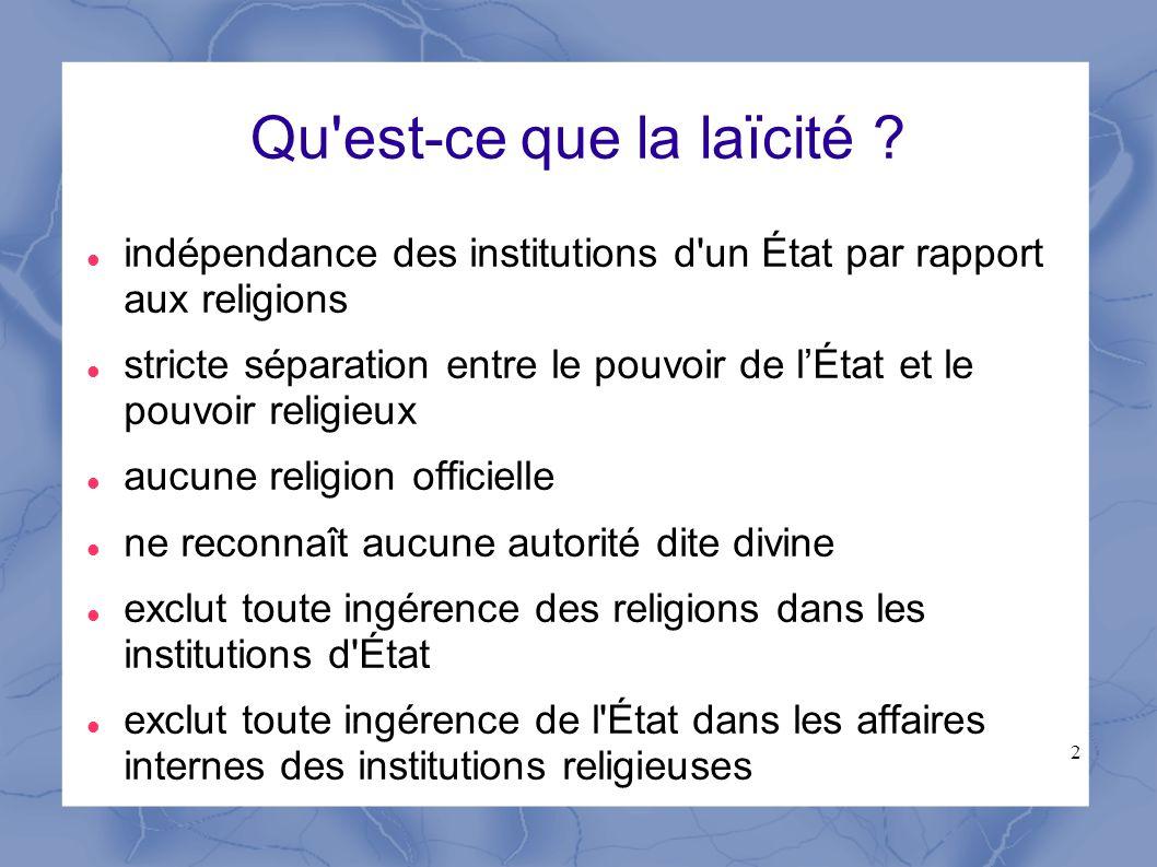 2 Qu'est-ce que la laïcité ? indépendance des institutions d'un État par rapport aux religions stricte séparation entre le pouvoir de lÉtat et le pouv
