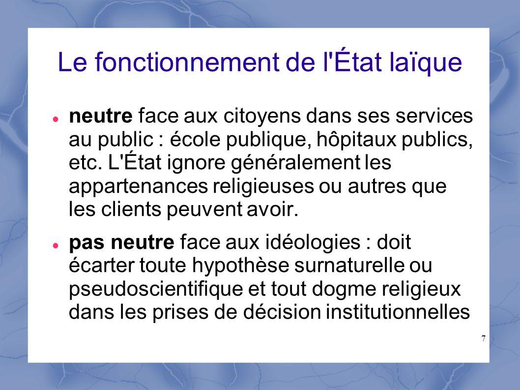 7 Le fonctionnement de l'État laïque neutre face aux citoyens dans ses services au public : école publique, hôpitaux publics, etc. L'État ignore génér