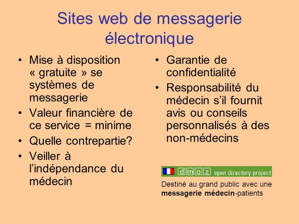 Sites web de messagerie électronique Mise à disposition « gratuite » se systèmes de messagerie Valeur financière de ce service = minime Quelle contrep